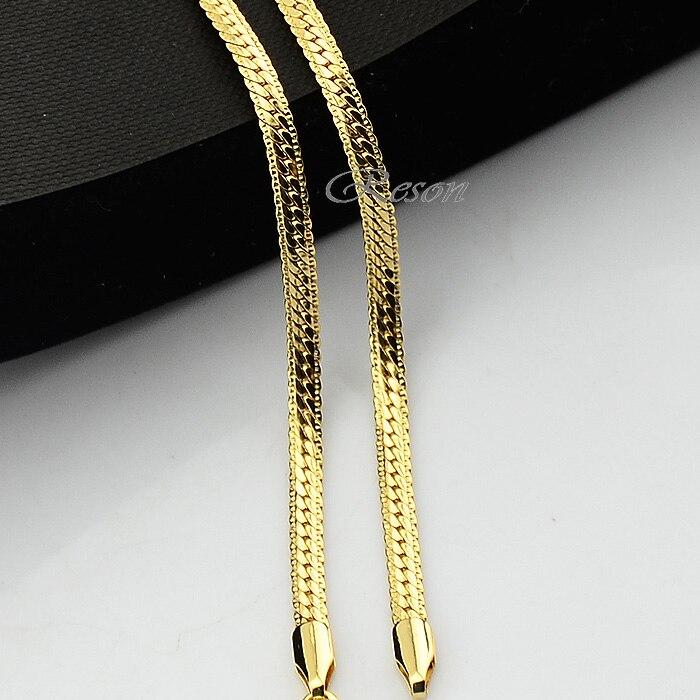 1pcs 3mm 4mm Width Herringbone Snake Chains Yellow Gold