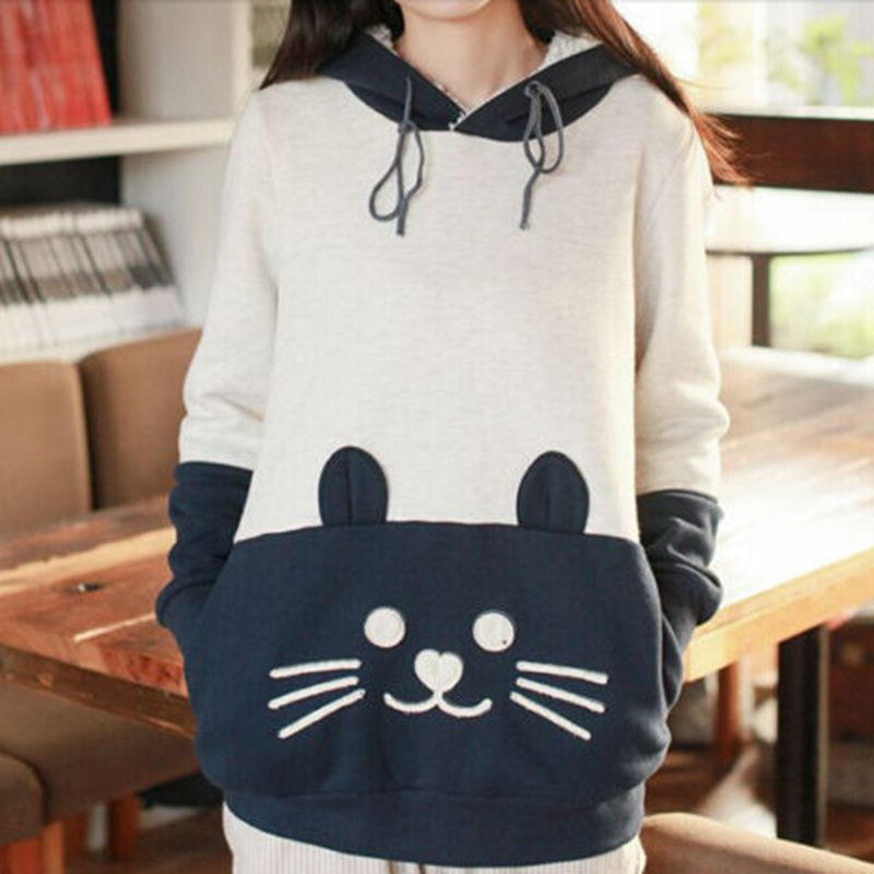 Japanese Mori Kawaii Women Hoodie Cat Face With Cute Ear ...