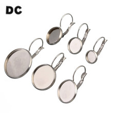 DC 10pcs/lot Stainless Steel Drop Earrings Base Cabochon Settings Tray Base Bezel For 12mm 20mm Cabochon DIY Jewelry Findings