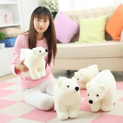 1pcs 20cm/25cm/35cm/45cm New White Polar Bear Stuffed Soft Teddy Bear Plush Toy Doll Free Shipping