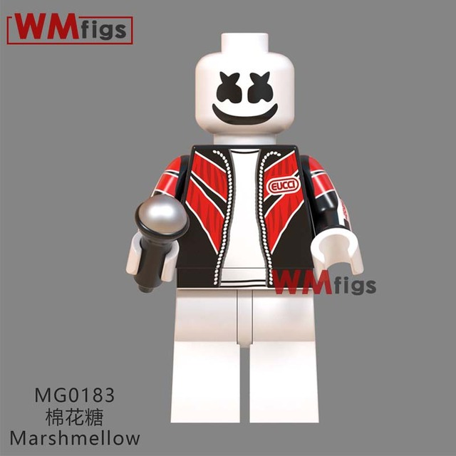 DJ Marshmallow Musician Freddie Mercury Queen Kiss Band Stanley Eric Singer Gene Simmons Building Blocks Gifts Bricks Toys Kid