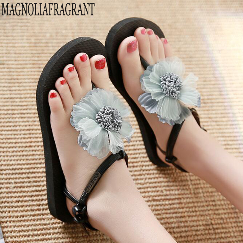 Shoes Woman Fashion Tassel Straps Flower Flat Sandals For Women Flip-flops Women Summer Beach Shoes sandalia feminina <font><b>c602</b></font> image