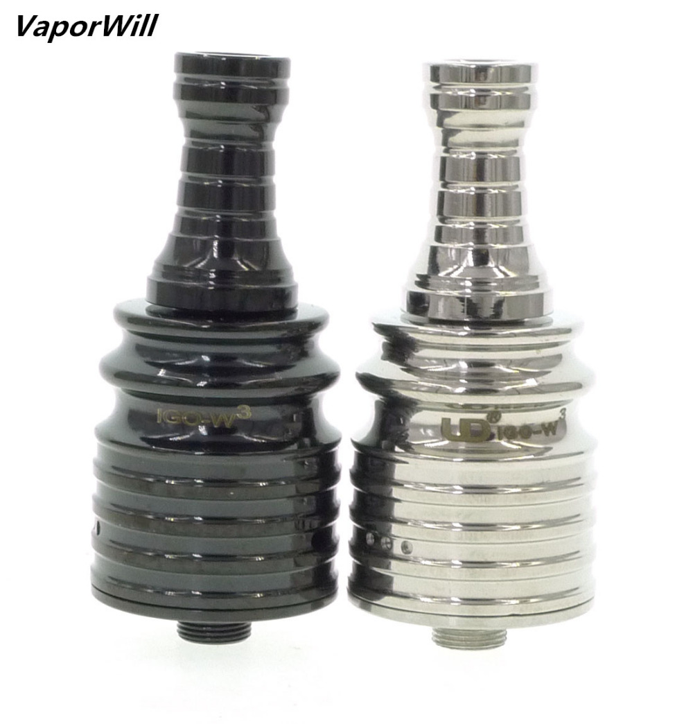 IGO-W3 RDA Atomizer Rebuildable Dripping IGO W 5 Posts Tank W/ Drip Tip SS/Black Fit For 510 Thread Battery Mechanical MOD