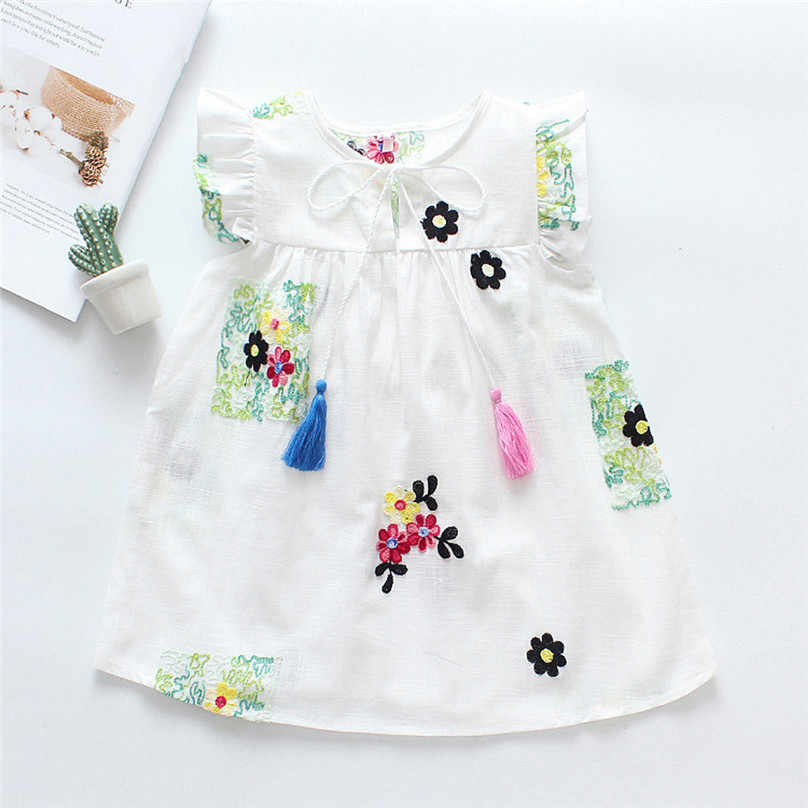 MUQGEW 2019 Hot Sale One-piece Summer Baby Girl Dress Fly Sleeve Wear Floral Ruffled Embroideried Tassel Princess Casual 4JJ