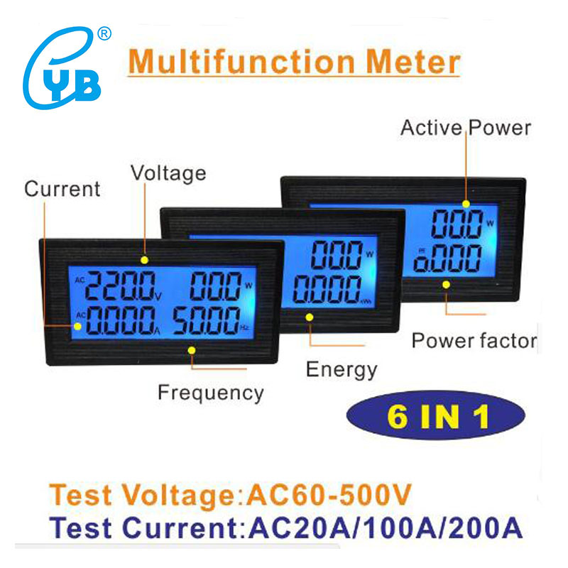 YB5140DM LCD Digital Voltmeter Ammeter AC60-500V 20A 100A 200A LCD Voltage Current Meter Power Factor Frequency Energy Tester PF qm200hh h 200a 500v