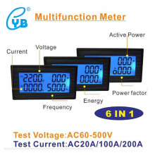 YB5140DM LCD Digital Voltmeter Ammeter AC60-500V 20A 100A 200A LCD Voltage Current Meter Power Factor Frequency Energy Tester PF