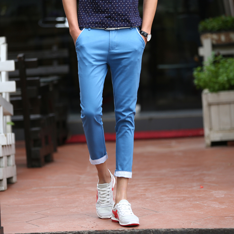 New Brand 2017 Mens Casual Pants Summer Clothing 4 Colors Slim Fit Ankle Length Pant Men Khaki Blue Green Mid Waist Pants Man