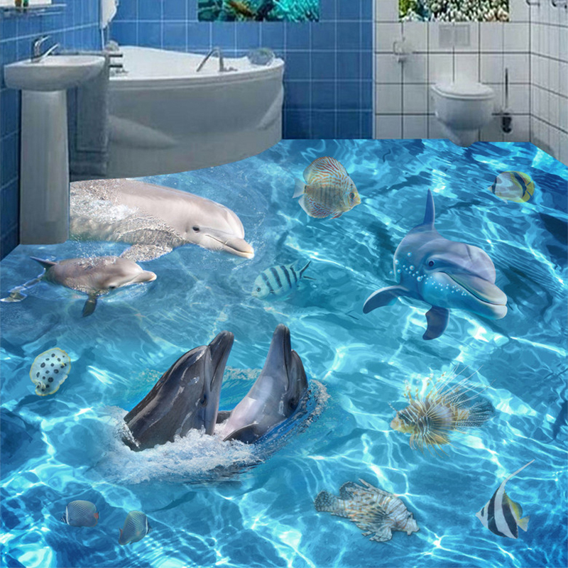 Photo Wallpaper 3D Underwater World Dolphins Floor Tiles Murals Bathroom Living Room PVC Non-Slip Floor Sticker Papel De Parede