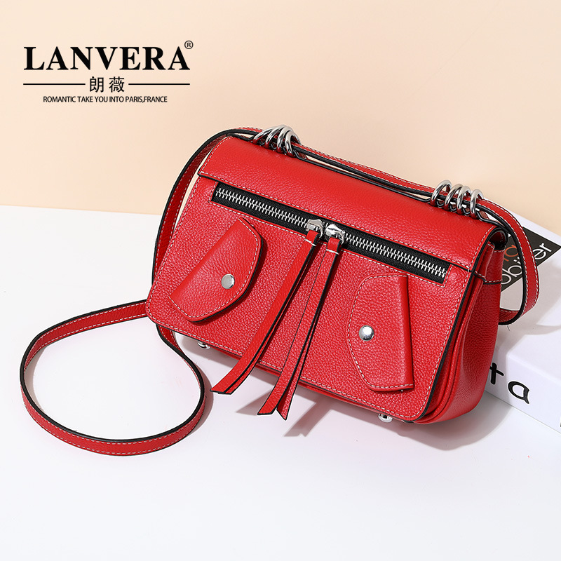 Genuine Leather Shoulder Bag Crossbody Messenger Bag First Layer Cow Leather Bag Small Korean 2017 Winter Women Handbag Totes women shoulder bag cossbody handbag genuine first layer of cow leather 2017 korean diamond lattice chain women messenger bag