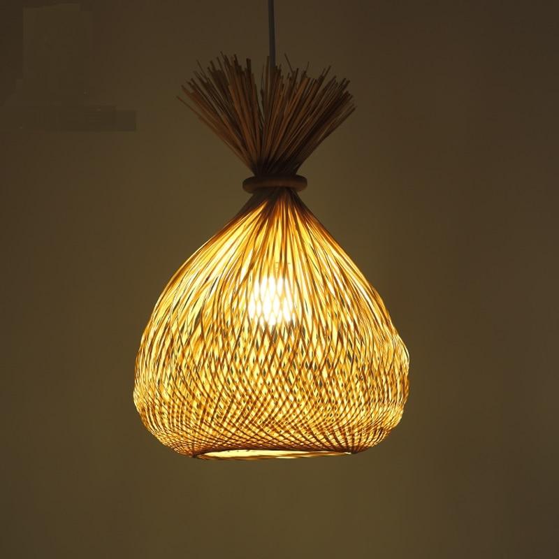 Bamboo pendant Lights Creative Pockets Living Room Bar Cafe Corridor Entrance Lighting Pastoral Country pendant lamps ZA zb1