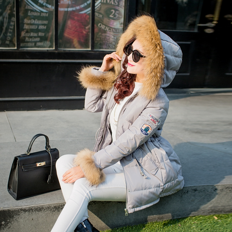 2017 womens winter down jacket real raccoon dog fur white duck down coat outerwear women thickening warm parkas hooded jackets