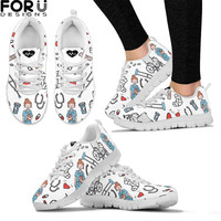 FORUDESIGNS Cartoon Sketch Physio Print Flats Shoes Air Mesh Women Casual Lace up Summer Soft Nurse Sneaker Shoes For Teen Girls
