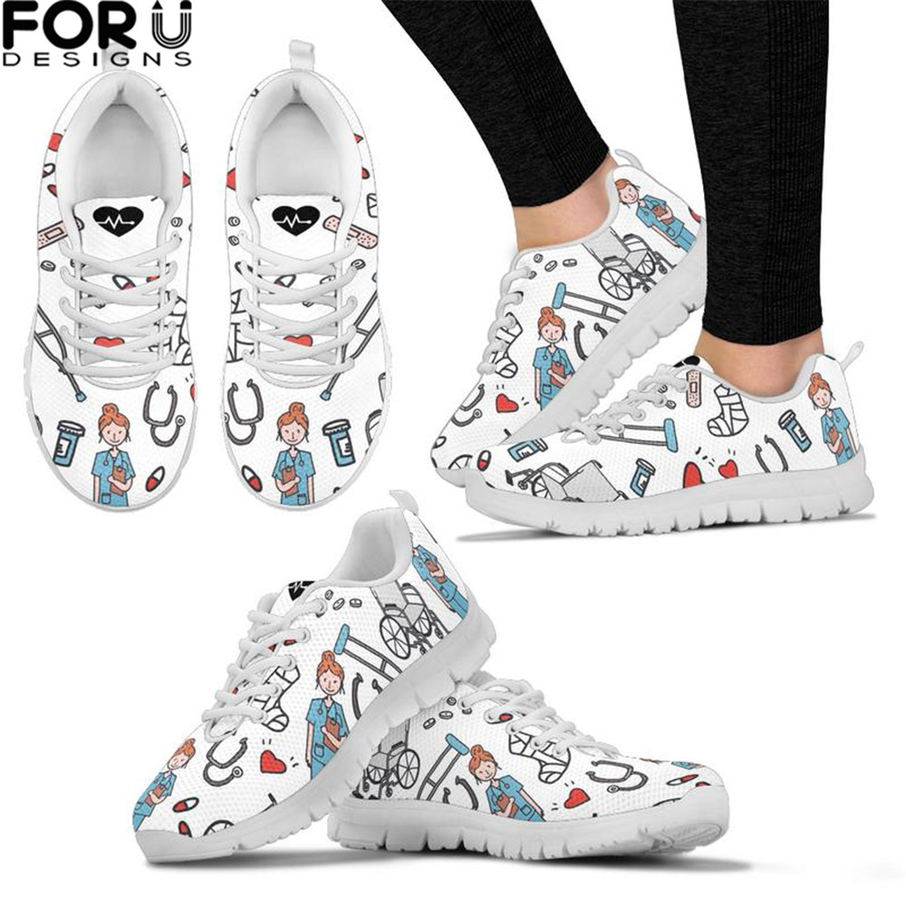 FORUDESIGNS Cartoon Sketch Physio Print Flats Shoes Air Mesh Women Casual Lace-up Summer Soft Nurse Sneaker Shoes For Teen Girls image