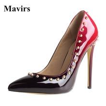 Mavirs Fashion 2018 New Brand Pointed Toe Gradient Rivets Pumps Women High Heels Stiletto Shoes Ladies Casual Pumps Footwear