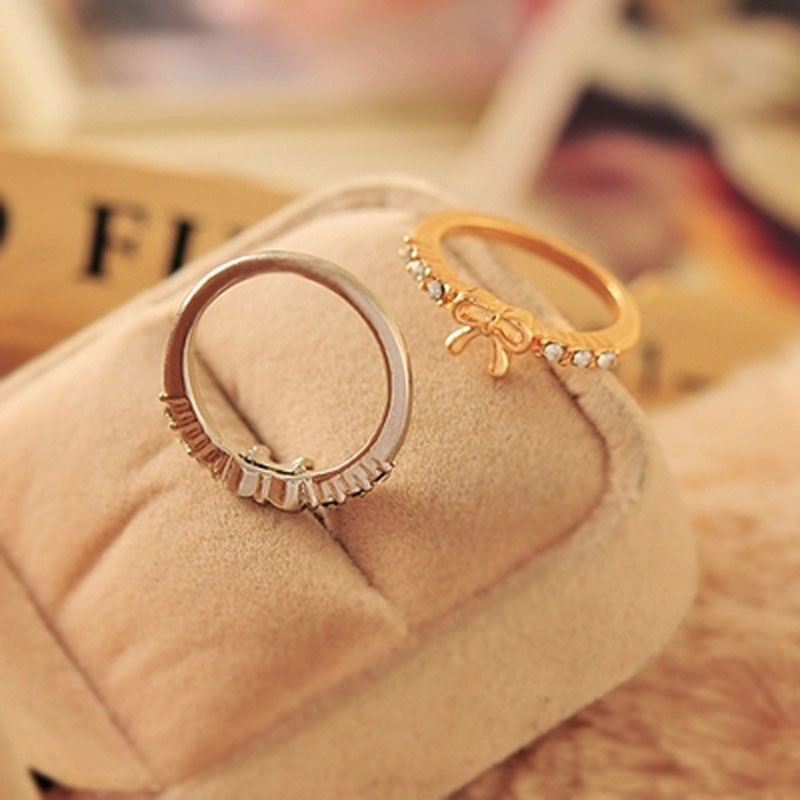 Korean Style Simple Fashion Bow Index Finger Rings for Women ...