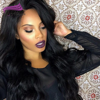 Alimina 360 Lace Frontal Wigs With Baby Hair Body Wave Unprocessed Brazilian Virgin Human Hair Wigs 150% Density Natural Color