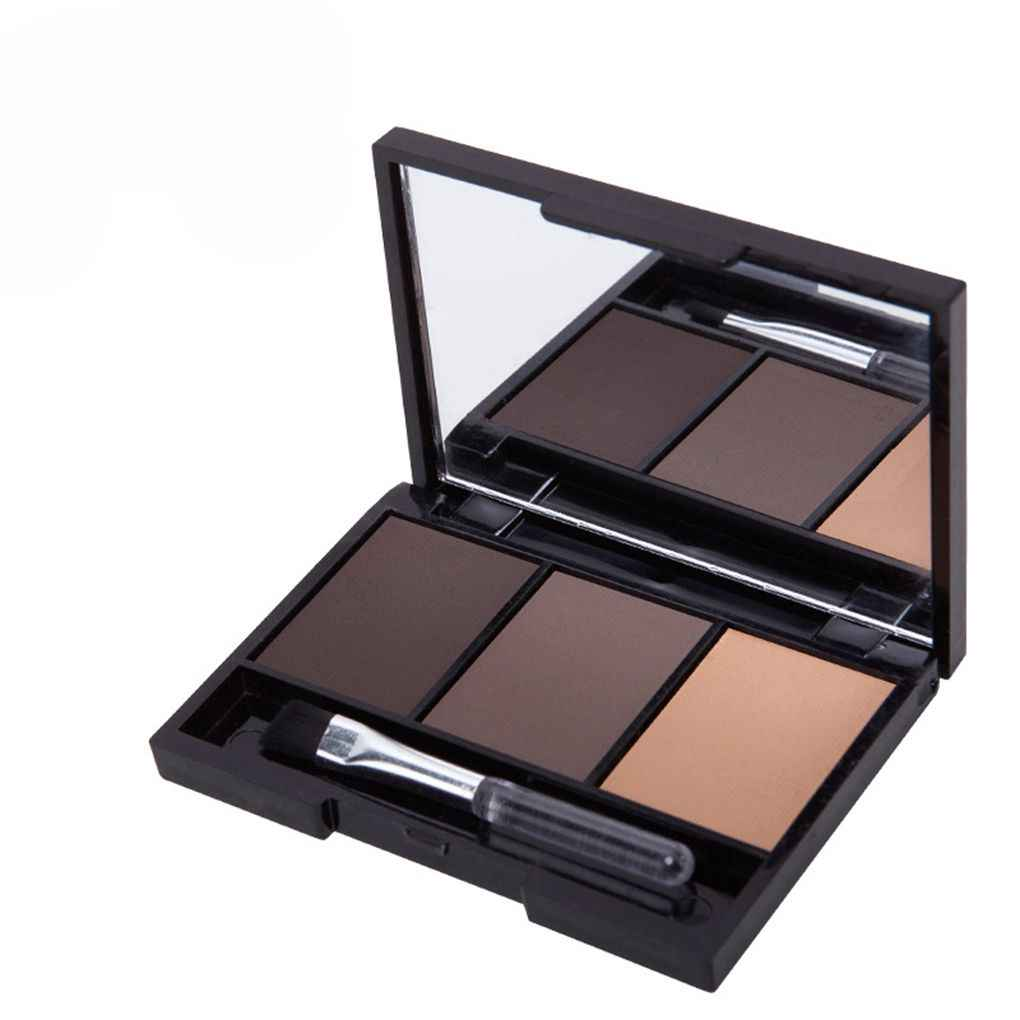 Hot Sale 3 Colors Professional Kit Long Lasting Eyebrow Powder Shadow Palette With Soft Brush And Mirror