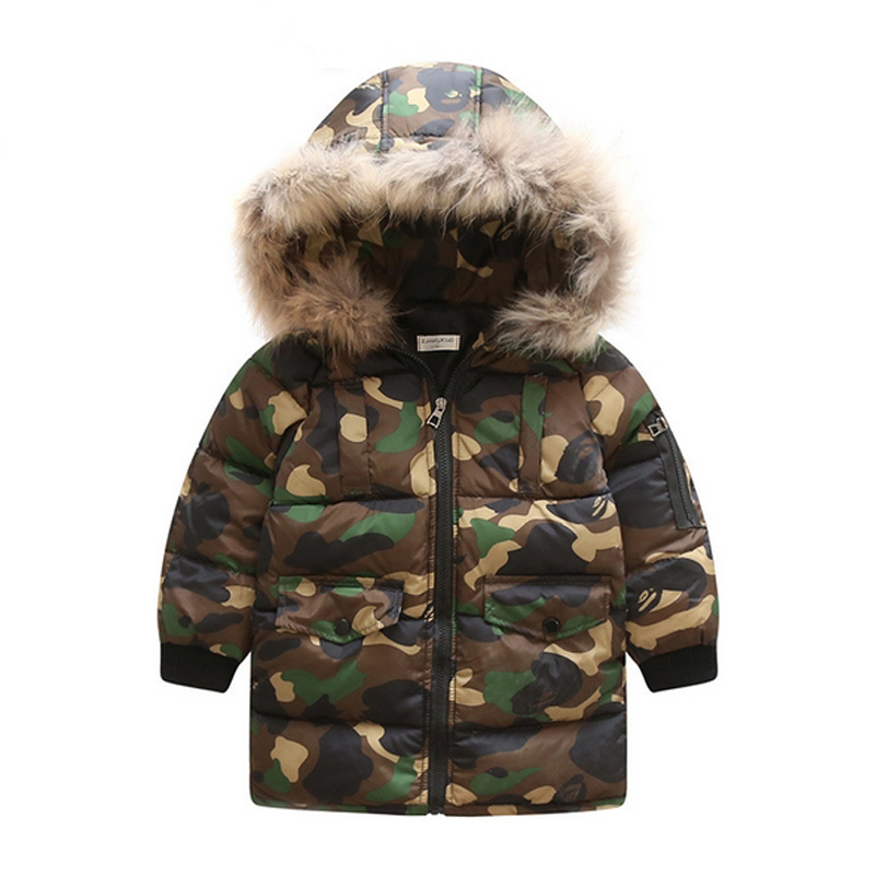 Winter Jacket For Boys Girls Kids Clothes Children Warm Coats Thicken Cotton camouflage Jackets Toddler Hooded Fur Outerwear 2018 winter children boys parka jacket kids thicken warm 90% cotton camouflage hooded coat baby boys girls casual outerwear