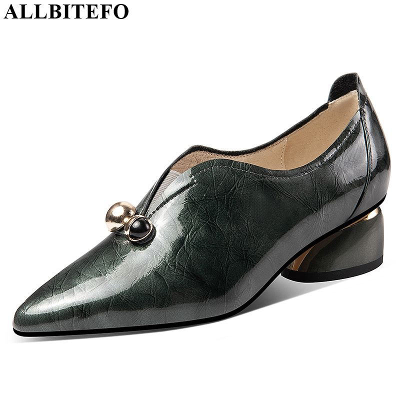 ALLBITEFO Natural Genuine Leather High Heels Comfortable Women Heels Daily Fashion Ladies Shoes Spring Autumn High Heel Shoes