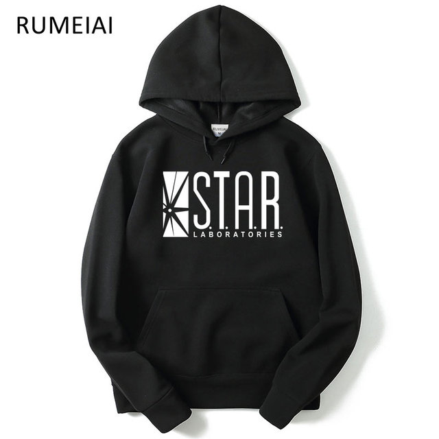 RUMEIAI Mens hoodies Flash Barry Allen Star Lab men hoody STAR labs jumper the flash gotham city comic books black sweatshirt