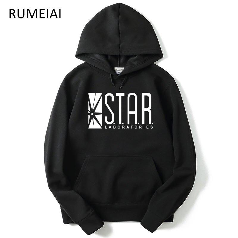 RUMEIAI Mens hoodies Flash Barry Allen Star Lab men hoody STAR labs jumper the flash gotham city comic books black sweatshirt