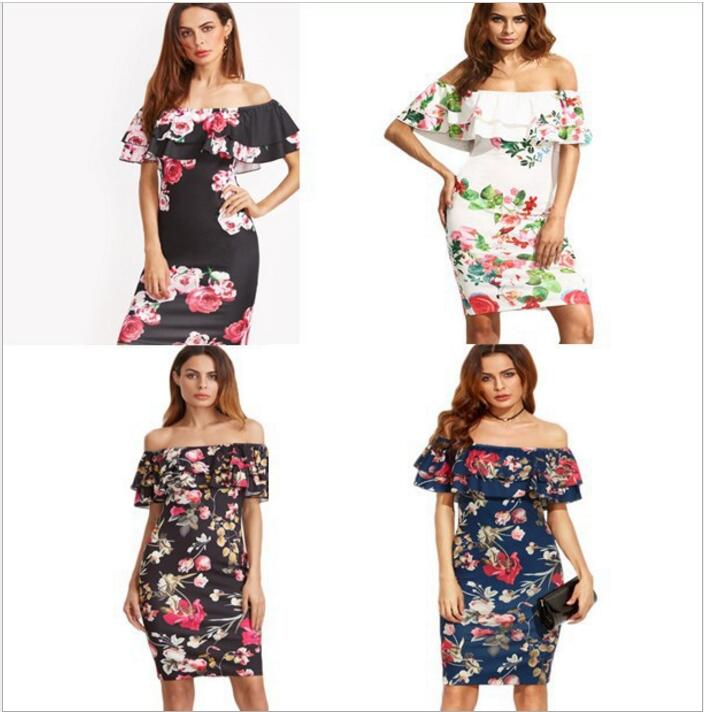 Summer Dress 2017 Clothes Women Short Sleeve Multicolor Floral Print Off The Shoulder Ruffle Sheath Dress  Rockabilly Dresses