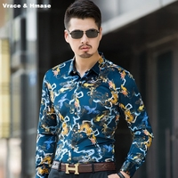 Style européen personnalité de la mode impression boutique à manches longues chemise Automne 2017 Nouveau doux soyeux or velours qualité hommes chemise