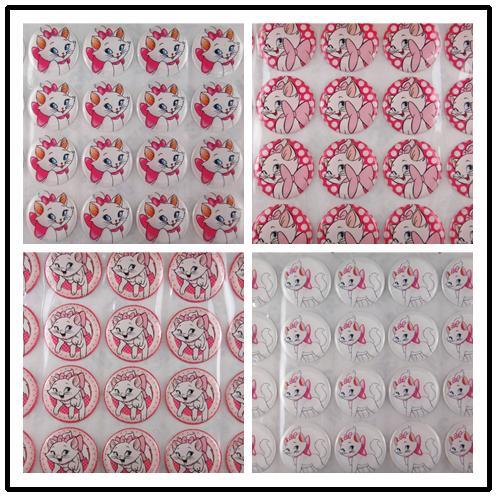 20pcs Lot 1 Inch254mm Cartoon Cat Resins Dots Stickers Crystal Epoxy