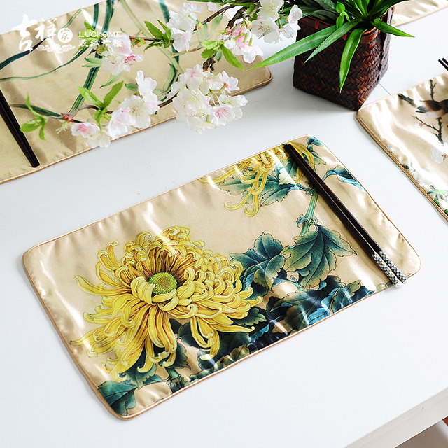 Classical Satin Table Mat Kitchen Chinese Table Mats Table Mat Sets Floral Placemats for Table Kitchen & Classical Satin Table Mat Kitchen Chinese Table Mats Table Mat Sets ...