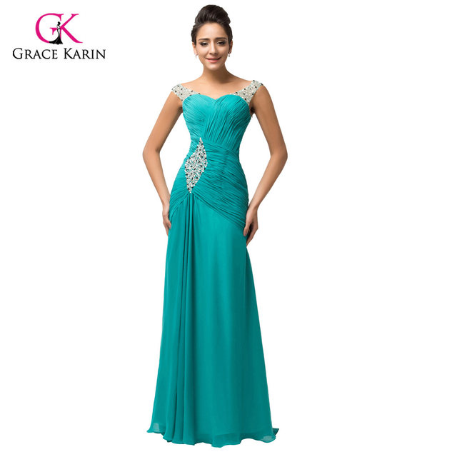 Online Shop Elegant Green Turquoise Chiffon long Formal Evening ...