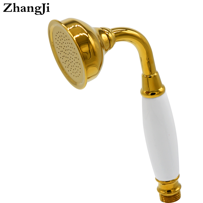high grade vintage luxury ceramic brass shower head gold plated bathroom accessories durable copper gilded shower