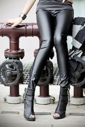 2016 new fashion Hot Sexy Women's Faux Leather Wet Look PU Tight Shiny Pants Black trousers