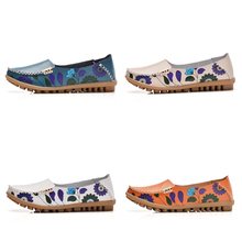 STQ 2019 Autumn women flats genuine leather shoes slip on ballet flats women flats print woman shoes moccasins loafers shoes 170