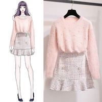 Autumn Winter Tracksuit Women Ladies Beading Knitted Sweater + Skirt Two Piece Set Female Vintage Slim Clothes Suits Outfits F75