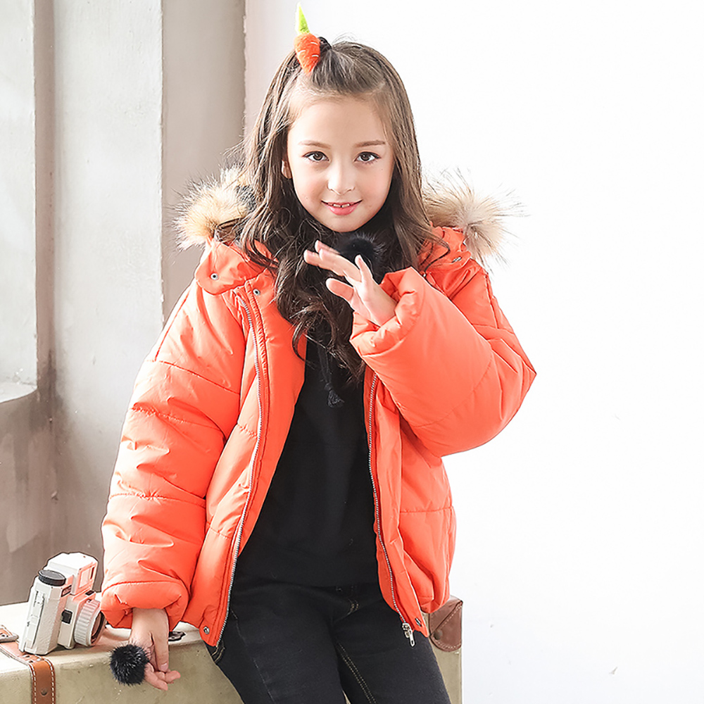 B-B18004 Girls Kids Autumn Solid Color Cotton Jackets Long Sleeve Winter Jacket Casual Coat Keep Warm Outerwear