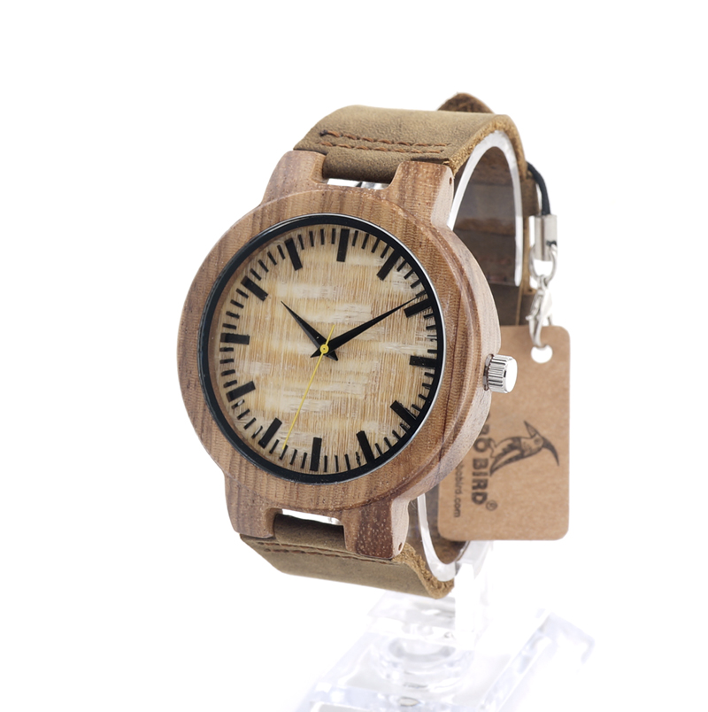 ФОТО BOBO BIRD C20 Mens Leather Band Antique Wood Watches With Yellow Anlaogue Display Bamboo Wooden Watches in Gift Box