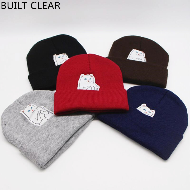 (BUILT CLEAR) Peas winter women's cartoon cat warm elastic knitted hat fashion casual simple hat wholesale wool hatwinter hat