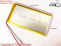 3 7V 8000mAH 7566121 PLIB Polymer Lithium Ion Li Ion Battery For GPS Mp3 Mp4 Mp5