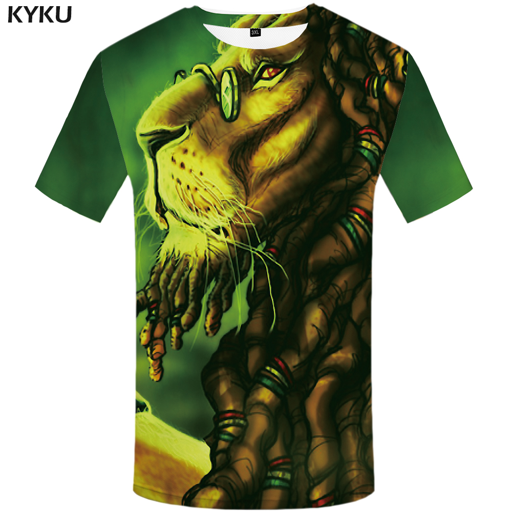 KYKU Lion T shirt Womens Tshirt Anime Big size 3D Tshirt Animal Clothes Chinese Shirts Hip hop Tee Women Clothing Fashion Tops