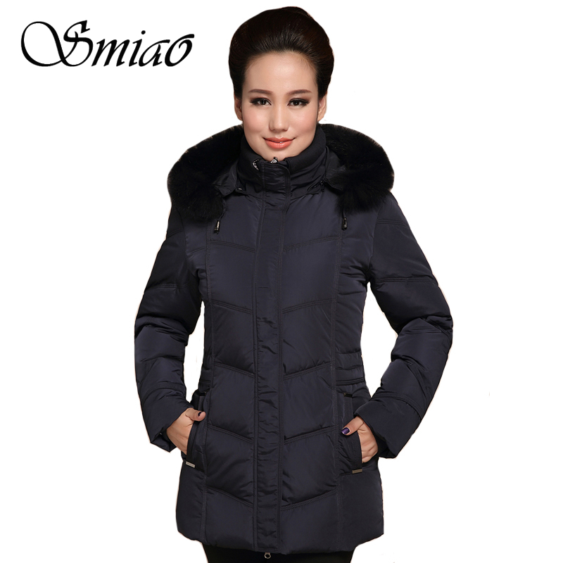 Smiao 2018 Women Down Parka Plus Size 5XL Thick Warm Autumn Fur Collar White Duck Down Winter Jacket Women Coat Female Outerwear high quality real fur female winter in the new middle aged down jacket women white duck down sundae feather thick coat l 5xl