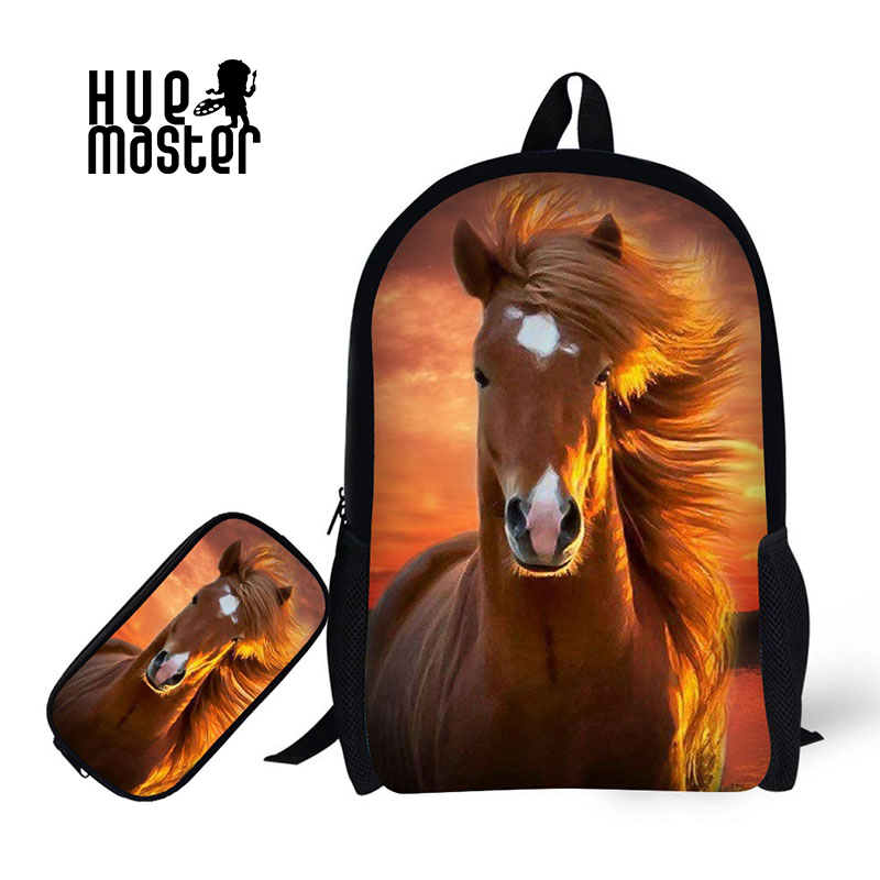 Children School Backpack With Pencil Case Horse Print School Bags For Boy Girl Student Schoolbag+Pencil Bag Learning combination big capacity high quality canvas shark double layers pen pencil holder makeup case bag for school student with combination coded lock
