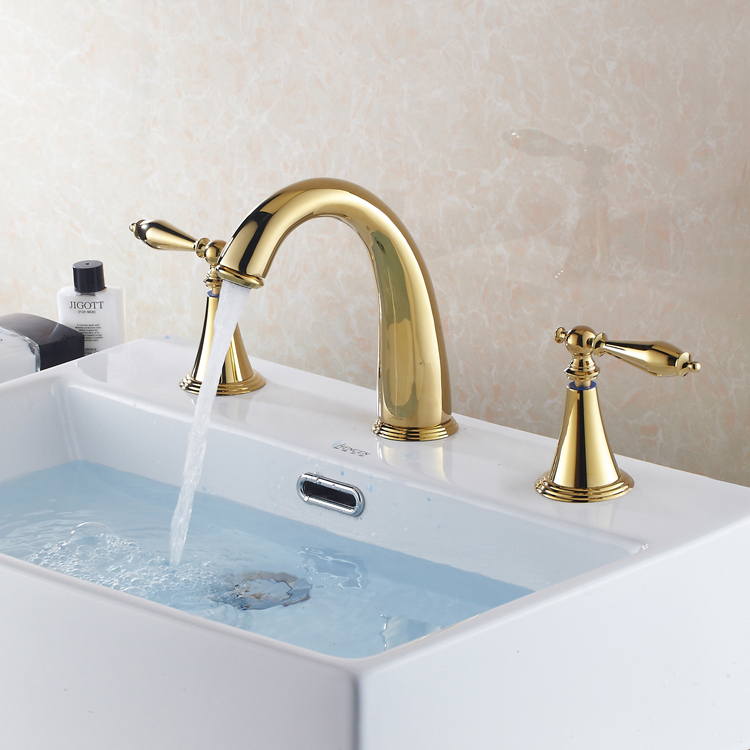 Superbe Gold Brass Widespread 3 Holes Bathroom Sink Faucet Dual Knobs Basin Mixer  Tap In Basin Faucets From Home Improvement On Aliexpress.com | Alibaba Group