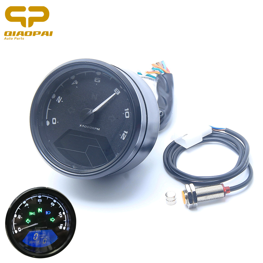 Universal Motorcycle Digital Speedometer Odometer LCD Screen Tachometer Oil Pressure Meter 12V Backlight for 1-4 Cylinders MOTO