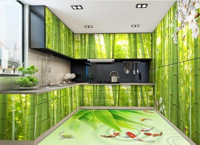 Zelfklevende Bamboe Vloer : 3d vloeren behang bamboe verse wallpaper 3d vloertegels zelfklevende