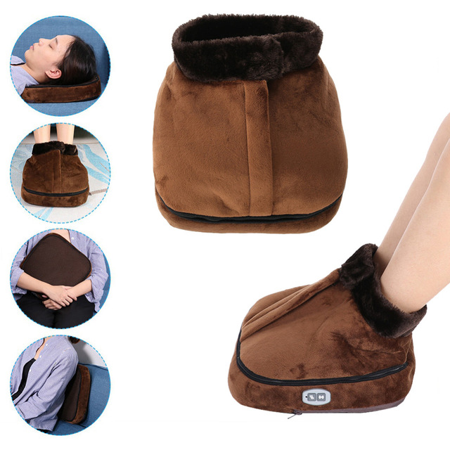 2 IN 1 Electric Heated Foot Warmer Cosy Unisex Velvet Feet Heated Foot Warmer Massager Big Slipper Foot Heat Warm Massage Shoes