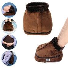 Calentador de pie calentado eléctrico 2 en 1 Unisex, calentador de pie calentado de terciopelo, zapatillas grandes, zapatos de masaje cálidos con calor para pies