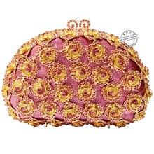 LaiSC rosa abend handtaschen rose blume form luxury diamante kupplung abendtaschen verzierten hochzeit geldbörse SC174