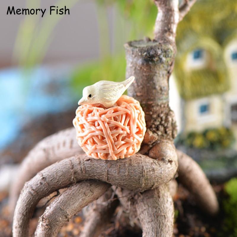Nest--Bird Figurines-Toys Resin Anime Mini Ornament Bonsai DIY Garden/succulents Micro
