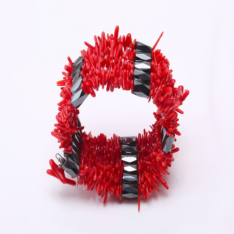 JYX Red Coral  Bracelet Stick Magnetic Bracelet Women and Men 36 inches