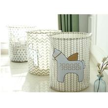 New Animal Horse Storage Bucket Bedroom Dirty Clothes Laundry Basket Kids Toys Sundries Round Folding Waterproof Storage Basket цена 2017
